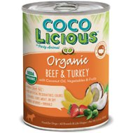 Party Animal Cocolicious Organic Beef & Turkey Recipe Grain-Free Canned Dog Food, 12.8-oz, case of 12