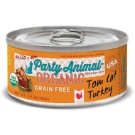 Party Animal Tom Cat Turkey Recipe Grain-Free Canned Cat Food, case of 24