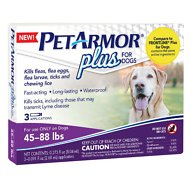 PetArmor Plus Flea & Tick Squeeze-On Treatment for Dogs, 3 count, 45-88 lbs