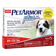 PetArmor Plus Flea & Tick Squeeze-On Treatment for Dogs, 3 count, 89-132 lbs
