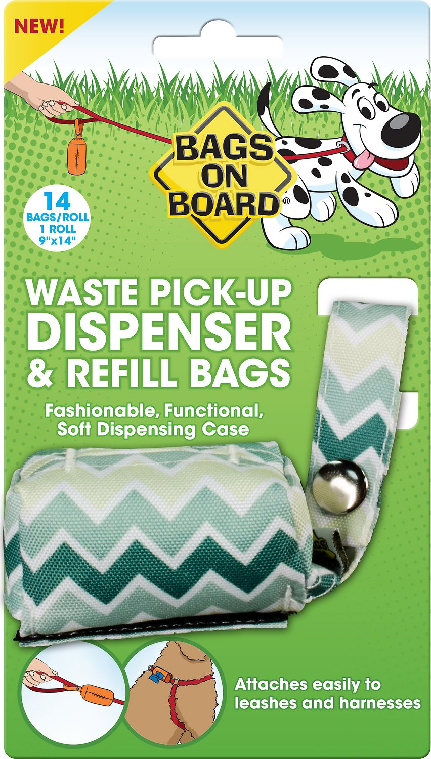Green Flexible Dog waste bag dispenser with 3 rolls of waste bags