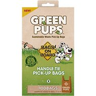 Bags on Board Green Pups Waste Pick-up Handle Tie Bags, 100 count