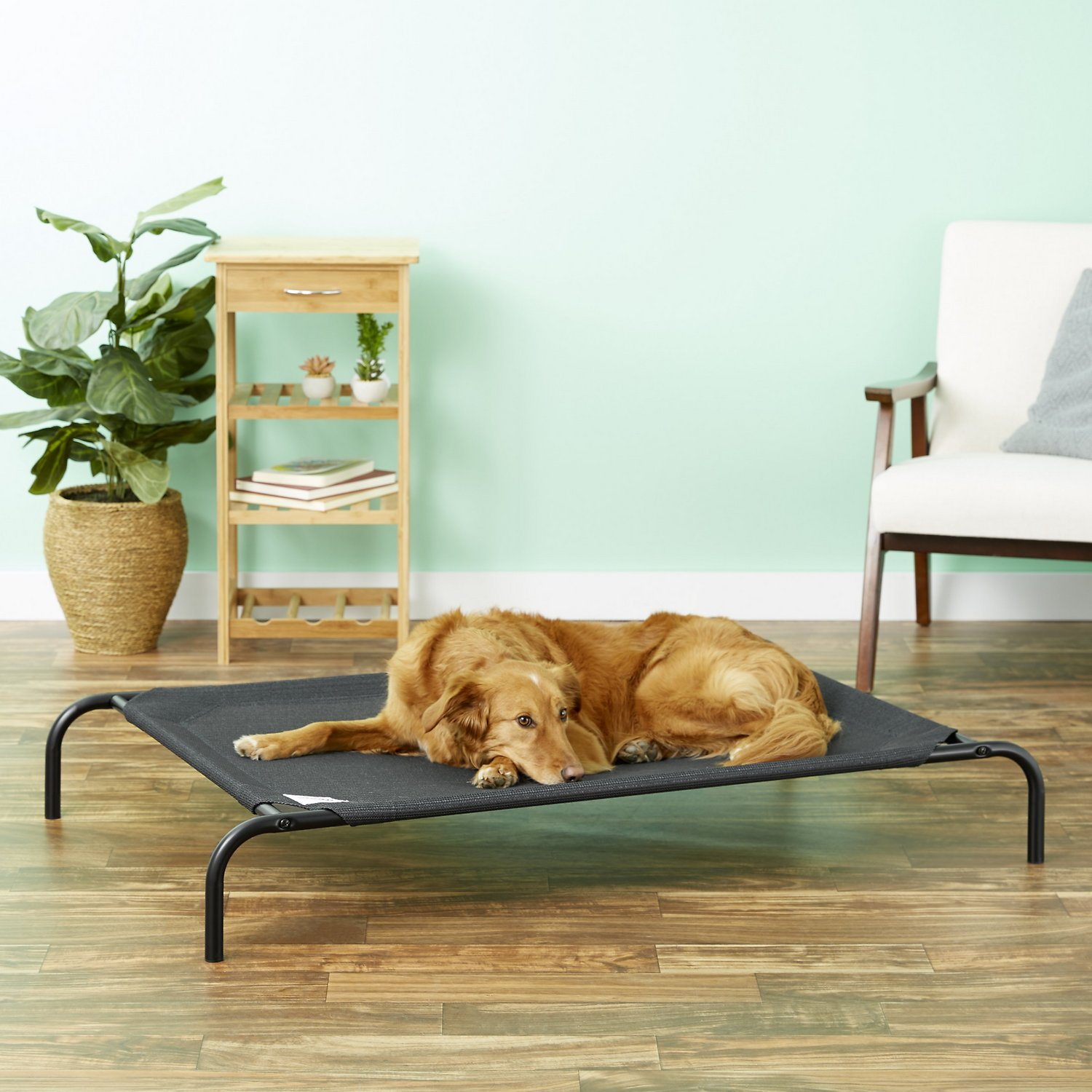 coolaroo steelframed elevated pet bed charcoal