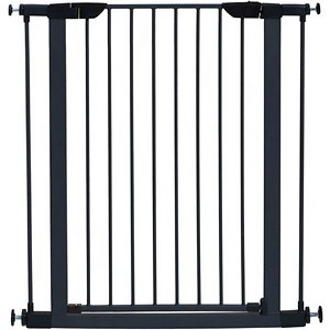 MidWest Steel Pet Gate, Graphite, 39-in; Keep your pet safe with the strong and durable MidWest Steel Pet Gate. Designed with a tubular steel and attractive textured graphite color, this chew-proof gate is sure to compliment any home décor. Measuring 19 inches wide with 2.25-inch spacing between the vertical bars, the barrier expands from 29.5 to 38 inches wide to fit most doorways and stairwells. This convenient walk-through door is easy to open with one hand, allowing you to easily open the gate while carrying groceries or other stuff. It has a spring-loaded latch and a lift and open operation to securely keep the gate closed and your pet safe in the desired location of your home. Plus, the safety gate includes four easy-to-set pressure mounts, two additional 3-inch extensions and the necessary tools to assemble.