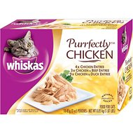 Whiskas Purrfectly Chicken Pouches Variety Pack Cat Food Pouches, 3-oz, case of 10