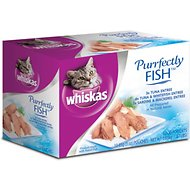 Whiskas Purrfectly Fish Pouches with Tuna, Sardines & Mackerel Cat Food Pouches, 3-oz, case of 10