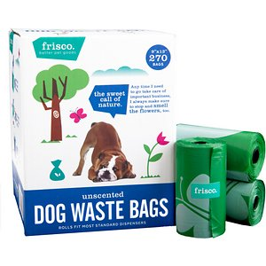 Frisco Refill Dog Poop Bags, Unscented, 270 count; When it's time for your pup to take care of some important business, Frisco Dog Poop Bags get the job done right. These poop bags cover up unpleasant smells with a fresh, fruity scent but are also available unscented for pet parents with sensitive sniffers. Best of all, they fit into most standard leash dispensers for quick access during walks. Each roll is stocked with 15 durable and leak-proof bags to pick up after any dog, big or small.