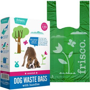 Frisco Handle Dog Poop Bags, Scented, 120 count; When it's time for your pup to take care of some important business, Frisco's Handle Dog Poop Bags get the job done right. These come as 120 loose bags in a box with a dispensing die-cut that releases one at a time, you can simply grab a bag on your way out the door. Frisco poop bags cover up unpleasant smells with a fresh, fruity scent but are also available unscented for pet parents with sensitive sniffers. Convenient handles and leak-proof construction provide easier tie up so you can pick up after any dog, big or small.
