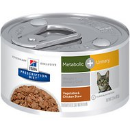 Hill's Prescription Diet Metabolic + Urinary Chicken & Vegetable Stew Canned Cat Food, 2.9-oz, case of 24