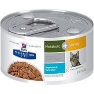 Hill's Prescription Diet Metabolic Weight + Urinary Care Tuna & Vegetable Stew Canned Cat Food, 2.9-oz, case of 24