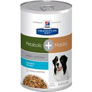 Hill's Prescription Diet Metabolic + Mobility Weight & Joint Care Vegetable & Tuna Stew Canned Dog Food, 12.5-oz, case of 12