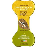 Exclusively Dog Crunchy Bones Savory Chicken Flavor Dog Treats, 3-oz bone
