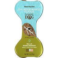 Exclusively Dog Crunchy Bones Salmon & Mango Flavor Dog Treats, 3-oz bone