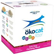 Okocat Soft Step Natural Wood Clumping Cat Litter, 16.7-lb box