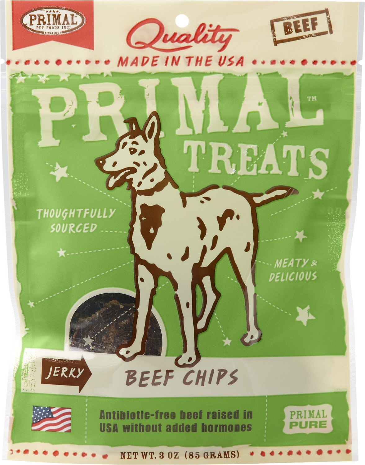 Primal Beef Chips Jerky Dog Treats 3 Oz Bag Chewycom