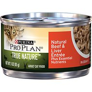 Purina Pro Plan True Nature Natural Beef & Liver Entree in Gravy Canned Cat Food, 3-oz can, case of 24