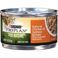 Purina Pro Plan True Nature Natural Chicken & Salmon Entree in Sauce Canned Cat Food, 3-oz can, case of 24
