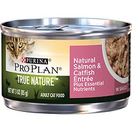 Purina Pro Plan True Nature Natural Salmon & Catfish Entree in Sauce Canned Cat Food, 3-oz can, case of 24