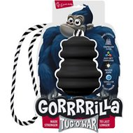 Multipet Gorrrrilla with Rope Dog Toy, Black, 3.5-in