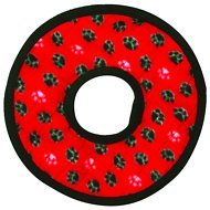 Tuffy's No Stuff Ultimate Ring Dog Toy, Red Paws