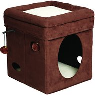 MidWest Curious Cube for Cats, Brown Suede