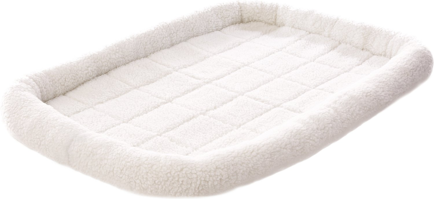frisco quilted fleece pet bed & crate mat, ivory, 42-inch - chewy