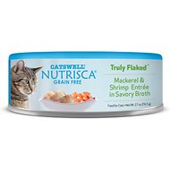 Nutrisca Grain-Free Truly Flaked Mackerel & Shrimp Entree in Savory Broth Canned Cat Food, 2.7-oz, case of 24