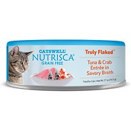 Nutrisca Grain-Free Truly Flaked Tuna & Crab Entree in Savory Broth Canned Cat Food, 2.7-oz, case of 24