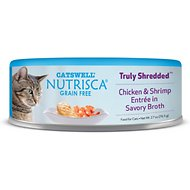 Nutrisca Grain-Free Truly Shredded Chicken & Shrimp Entree in Savory Broth Canned Cat Food, 2.7-oz, case of 24