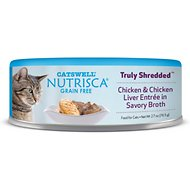 Nutrisca Grain-Free Truly Shredded Chicken & Chicken Liver Entree in Savory Broth Canned Cat Food, 2.7-oz, case of 24