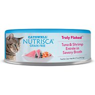 Nutrisca Grain-Free Truly Flaked Tuna & Shrimp Entree in Savory Broth Canned Cat Food, 2.7-oz, case of 24