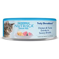Nutrisca Grain-Free Truly Shredded Chicken & Tuna Entree in Savory Broth Canned Cat Food, 2.7-oz, case of 24