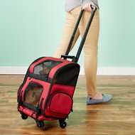 Gen7Pets Geometric Roller Carrier with Smart-Level Pet Carrier, Red, Up to 10 lbs