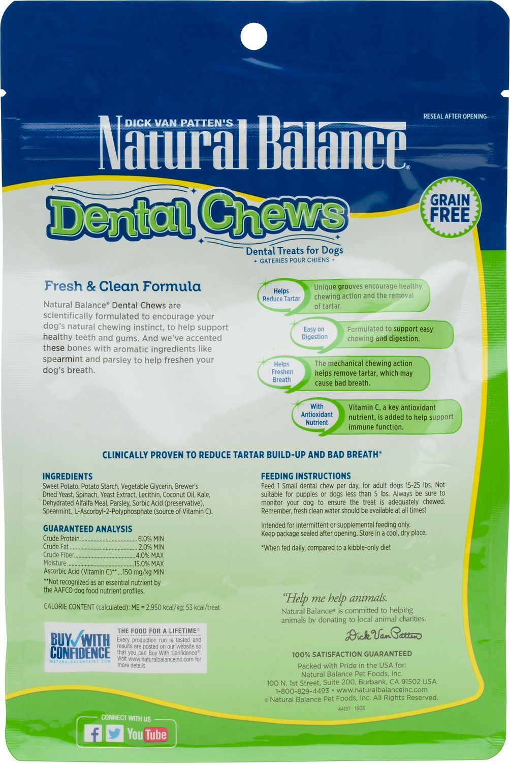 Natural Balance Dental Chews Fresh & Clean Formula Grain ...