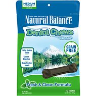 Natural Balance Dental Chews Fresh & Clean Formula Grain-Free Dog Treats, Medium