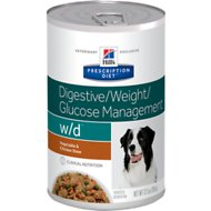 Hill's Prescription Diet w/d Multi-Benefit Digestive/Weight/Glucose/Urinary Management Vegetable & Chicken Stew Canned Dog Food, 12.5, case of 12