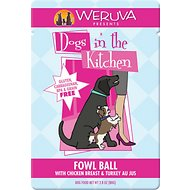 Weruva Dogs in the Kitchen Fowl Ball with Chicken Breast & Turkey Au Jus Dog Food Pouches , 2.8-oz, case of 12