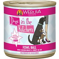 Weruva Dogs in the Kitchen Fowl Ball with Chicken Breast & Turkey Au Jus Canned Dog Food, 10-oz can, case of 12