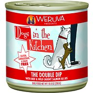 Weruva Dogs in the Kitchen The Double Dip with Beef & Wild Caught Salmon Au Jus Grain-Free Canned Dog Food, 10-oz can, case of 12