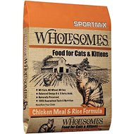 SPORTMiX Wholesomes Chicken Meal & Rice Formula Adult Dry Cat Food, 15-lb bag