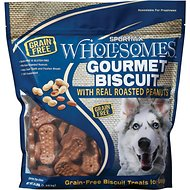 SPORTMiX Wholesomes Grain-Free Premium Gourmet Biscuit with Roasted Peanuts Dog Treats, 3-lb bag