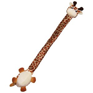 KONG Danglers Dog Toy, Giraffe; The KONG Danglers Dog Toy is long on fun for dogs of all ages. Each charming character has squeakers in both the head and the belly, and an elongated neck that's filled with crinkle sounds to entice your pup to play. While this soft plush is cozy for cuddle time, the unique design of the Dangler makes it an ideal toy for games of tug, toss and fetch.