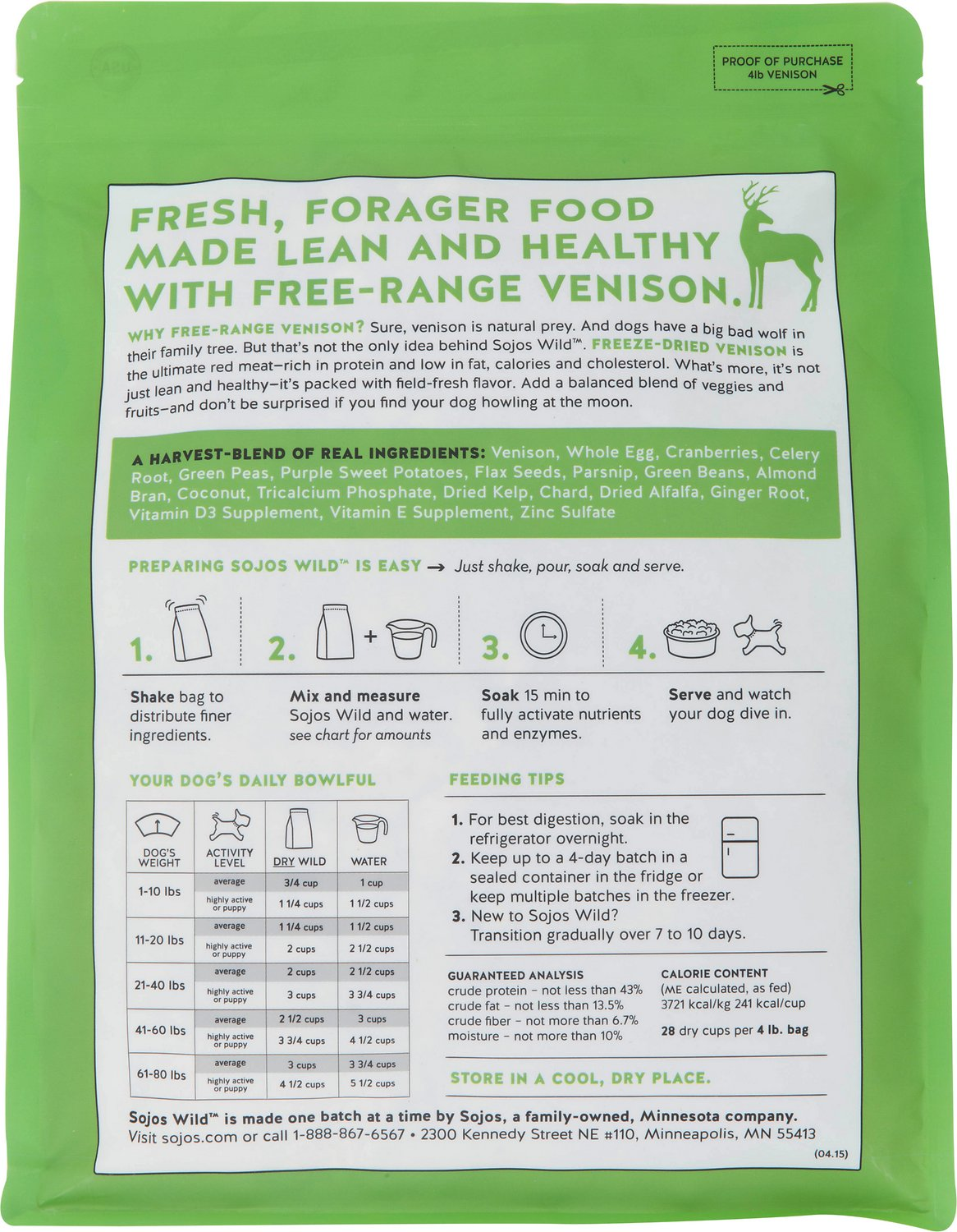 Sojos Wild Free Range Venison Recipe Freeze Dried Dog Food