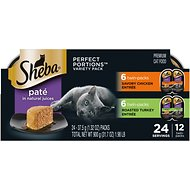 Sheba Perfect Portions Grain-Free Multipack Poultry Entrees Cat Food Trays, 2.6-oz, case of 12 twin-packs