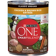 Purina ONE SmartBlend Classic Ground Chicken & Brown Rice Entree Adult Canned Dog Food, 13-oz, case of 12