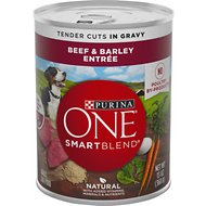 Purina ONE SmartBlend Tender Cuts in Gravy Beef & Barley Entree Adult Canned Dog Food, 13-oz, case of 12