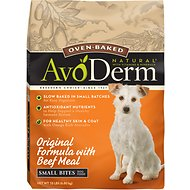 AvoDerm Natural Oven-Baked Original Formula with Beef Meal Small Bites Dry Dog Food, 15-lb bag