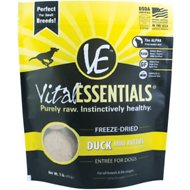 Vital Essentials Duck Entree Mini Patties Grain-Free Freeze-Dried Dog Food, 1-lb bag
