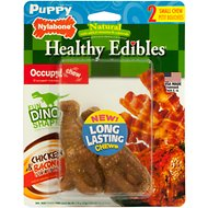 Nylabone Natural Healthy Edibles Puppy Dinosaur T-Rex Chicken & Bacon Small Dog Treats, 2 count