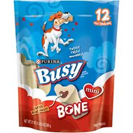 Busy Bone with Real Meat Mini Dog Treats, 12 count